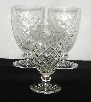 """3 Hocking WATERFORD/WAFFLE CRYSTAL *5 1/2"""" WATER GOBLETS*HTF*"""