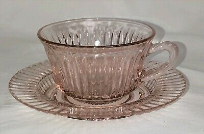 Anchor Hocking QUEEN MARY PINK * LARGE CUP &  SAUCER/ SHERBET PLATE*