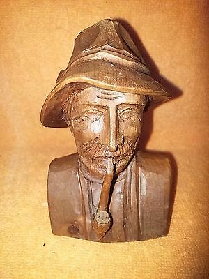 Vintage German Wood Carved Bust of Bearded Man Smoking Pipe - Germany