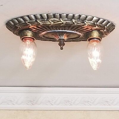 292a Vintage 10's 20's Antique Ceiling Light Fixture Poly-chrome sconce lamp