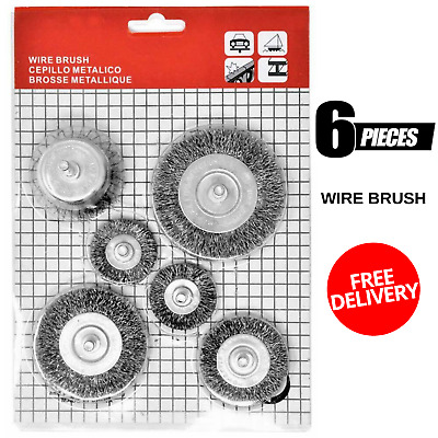 """New Toolman 6 Pcs Set 1/4"""" Crimped Wire Wheel Cup Brush Set Power Drill"""