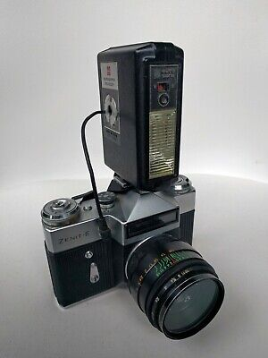 Zenit E SLR with National autopana PE-2001 electronic flash
