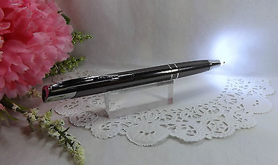 2 in 1 Marval Gunmetal LED Lighted Tip Night Writer Ballpoint Pen HIGH QUALITY