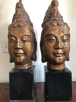 PR Vintage Mid Century  Hollywood Regency Buddha Lamps Mont manner