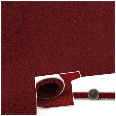 SUPERSOFT CHUNKY 17mm Thick Red Saxony Felt Back 4m Wide Carpet £10.99m²
