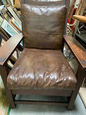 Arts Crafts Mission Oak Gustav Stickley Model 320(1902-1904) Lounge Chair Signed