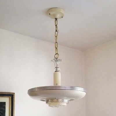 435b Vintage Antique 30's Streamline Art Deco  Ceiling Light Fixture Chandelier