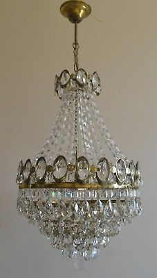 Pendant French Basket Style Vintage Brass Crystals Chandelier Antique Lamp 1970s
