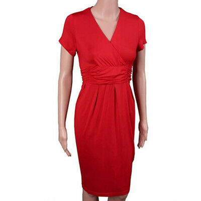 Female Dress V-neck Short Sleeve Pregnant Casual Bodycon Twisted Long Dress LH