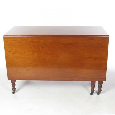 Antique Drop Leaf Table >> Antique Drop Leaf Table Gate Leg Figured Cherry Dining Room 19th C