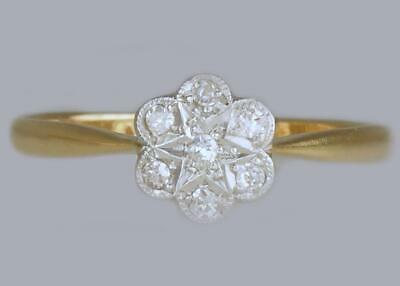 Edwardian 18ct Gold & Plat Diamond Antique Cluster Ring Vintage Daisy Ring c1910