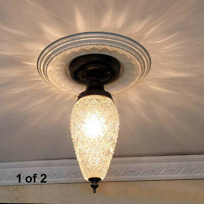 690 Vintage Ceiling Light Lamp Fixture Glass chrome bath hall porch more avail