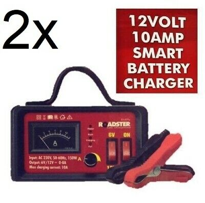 2x 6V 12V 10 AMP SMART BATTERY CHARGER VEHICLE CAR VAN AUTOMATIC TRICKLE 10A