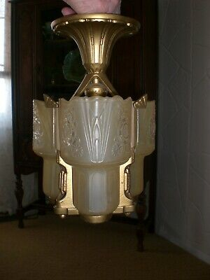 Rare 1930's Lightolier 3 Slip Shade Chandelier- After Sunset /ceiling Fixture