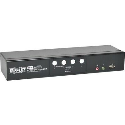 NEW B004-DUA4-HR-K 4-Port DVI Dual-Link / USB KVM Switch w/ Audio and Cables