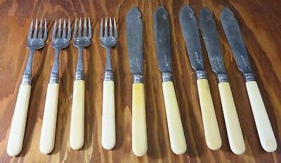 Antique (9) Piece Briddon Brothers Sheffield EP Fish Cutlery Very Good Condition