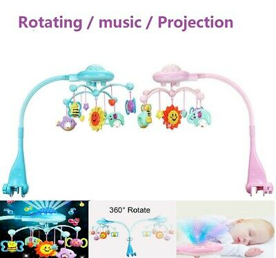 Musical Crib Mobile Toy Toddler Bed Bell Rattles Projection Toy for Baby Newborn