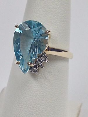 Natural Blue Topaz with Natural Diamond Cluster Ring Solid 10kt Yellow Gold