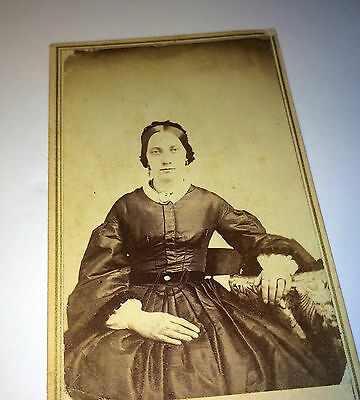 Antique Victorian Civil War Era Fashion Woman W/ Lovely Dress! Vermont CDV Photo