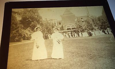Antique Victorian American Women Outdoor Party Gathering! Fashion Cabinet Photo!