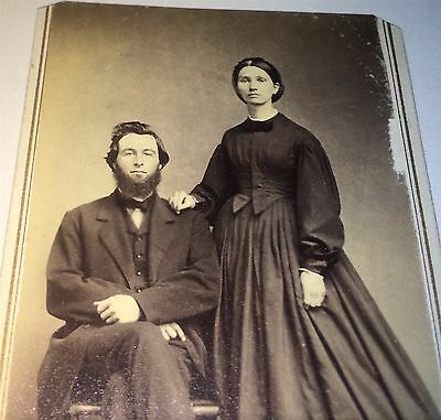 Antique Civil War Era American Fashion Beautiful Couple! Stamp! Old CDV Photo!