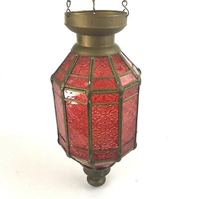 Vintage Red Glass & Brass Gothic Hanging Lantern Pendant Chain Antique Fixture