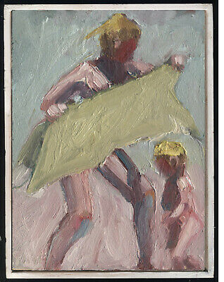 """S Winterton Original Oil Painting Beach Figures with Towel FRAMED 6""""x8"""""""