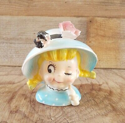 Vintage Head Vase Little Girl Blonde Braids Winking With Dimples and Rosy Cheeks
