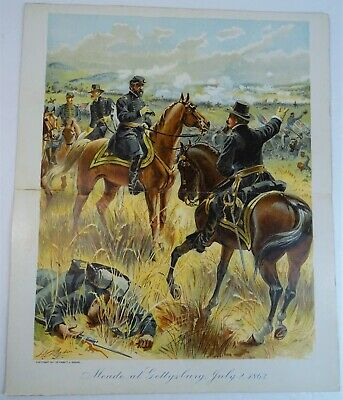 RARE Antique Litho Print General Meade Battle of Gettysburg 1863 Civil War 1900