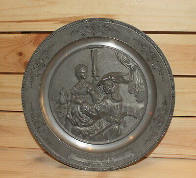 Vintage German WMF Ges. Gesch hand made pewter wall hanging plate Rembrandt