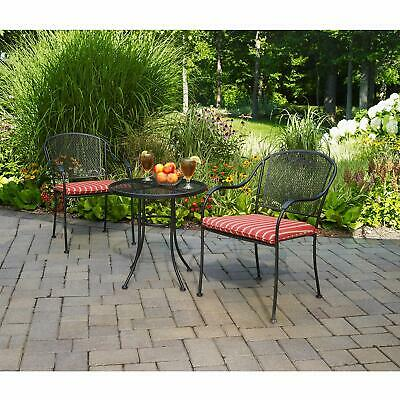 3-Piece Porch Patio Bistro Set Wrought Iron Outdoor Deck Furniture Table Chairs