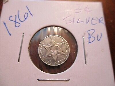1861 Three Cent Silver 3 CS Piece - VERY HIGH GRADE