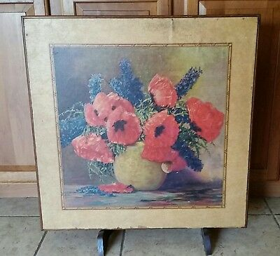 Vintage Victorian Floral Decoupage Folding Table/Fireplace Screen