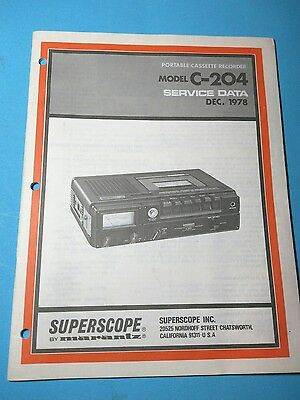 Superscope Service Manual - Model C-204 - Original - Technical