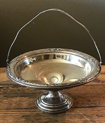 Damask Rose by Heirloom Sterling Silver Candy/Nut Bowl with Hinged Handle