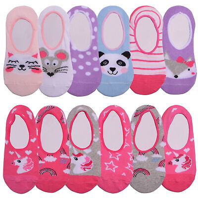 Girls 6 Pack Unicorn Animal Design Invisible Liner Socks Childrens Hidden Socks