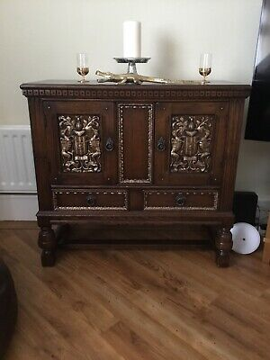 Antique dark oak Small Sideboard With Carved Belgian Coat Of Arms