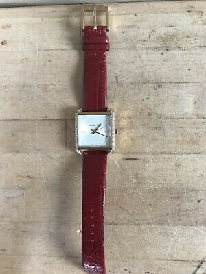 a3ea950b3995 Michael Kors MK2623 Lake Gold Tone   Red Leather Strap Sparkling 38mm Watch