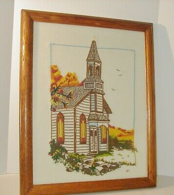 Framed Crewel Embroidery Country Church Steeple Easter Flowers Hand Stitched