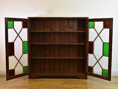 OAK STAINED GLASS ADJUSTABLE BOOKCASE Arts & Crafts