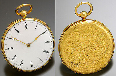 Antique French Quarter Hour Repeater Gold Pocket Watch Ca1850S 18K, Keywind