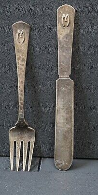 Kalo Workshop Hand Wrought Sterling Silver Child's Knife & Fork With Monogram