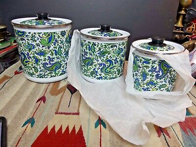 Vintage Enamel Storage Canisters Brightly Decorated Paisley 3 Total MCM