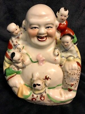 Chinese Republic Porcelain Seated Famille Buddha Sculpture #76 Signed 9""