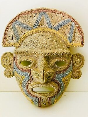 Estate Mexican Ceramic Pottery Stoneware Obsidian Aztec Mayan Chimu Wall Mask