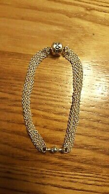 80c52b5e1 Authentic PANDORA Sterling Silver One-Clip Multi-Chain Bracelet 7.5