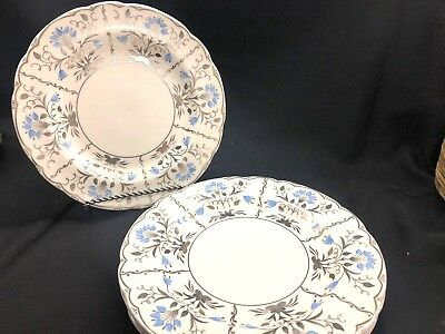 Wedgwood Papyrus Bone China Silver & Blue Dinner Plates Set of 4! Excellent 4080