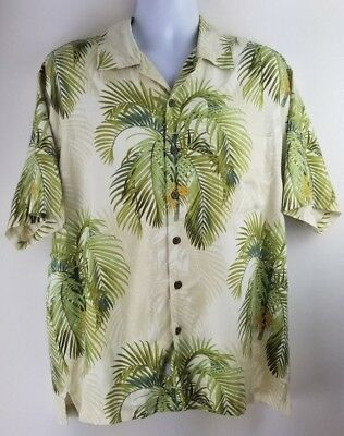 Tommy Bahama Men's 100% Silk Button Front Hawaiian Camp Palm Tree Shirt Sz Large