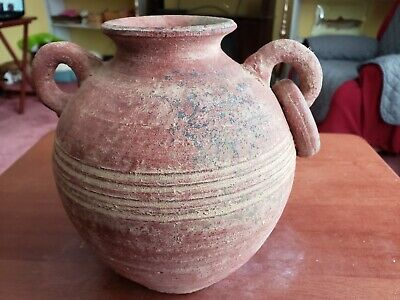 "Early American  Primative / Old Red Clay Pot 7 1/2"" H Handles & Ring / Bands"