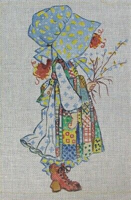 HOLLY HOBBIE WITH FLOWERS Hand-Painted Needlepoint Canvas BARBARA GALVIN HODESS